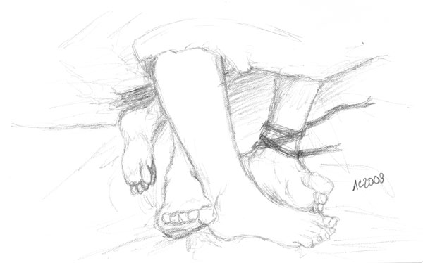 Snuggy Feet sketch by Amy Crook