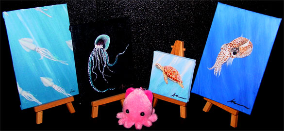 4 tiny underwater scenes by Amy Crook