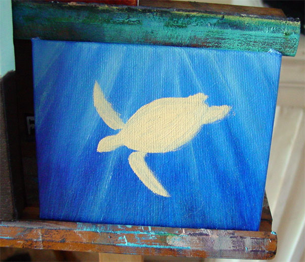 Green Sea Turtle, step 2, by Amy Crook