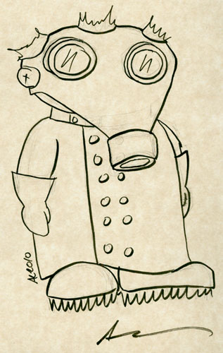 Mad Scientist With Gas Mask sketch by Amy Crook