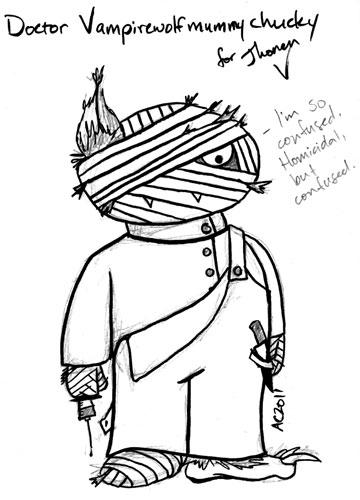 Doctor VampWolfMummyChucky cartoon by Amy Crook