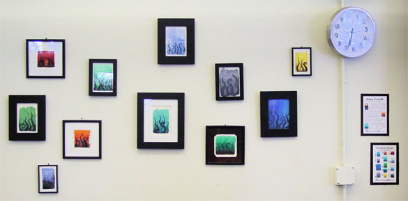 Tentacle Deeps watercolor series by Amy Crook, on display at Endgame in Oakland, CA