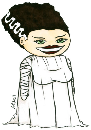 Bride of Frankenstein cartoon by Amy Crook