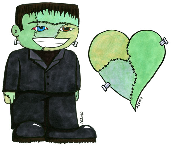 Frankenstein's Monster + Heart by Amy Crook