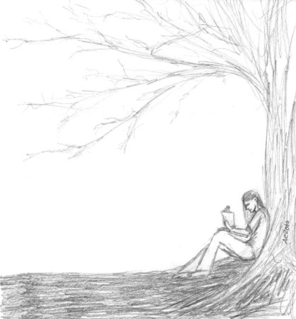Reading Under a Tree by Amy Crook