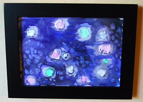 Innocent Stars, framed watercolor by Amy Crook
