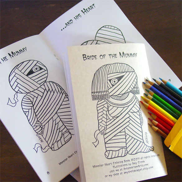 Monster Heart Coloring Book, back + inside, by Amy Crook