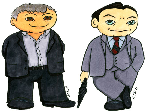 Mycroft Holmes and DI Lestrade cartoons by Amy Crook