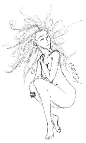 Naked Girl doodle by Amy Crook