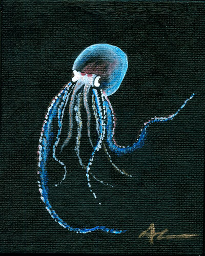 Translucent Pelagic Octopus tiny painting by Amy Crook
