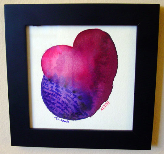 Seuss Heart, framed art by Amy Crook