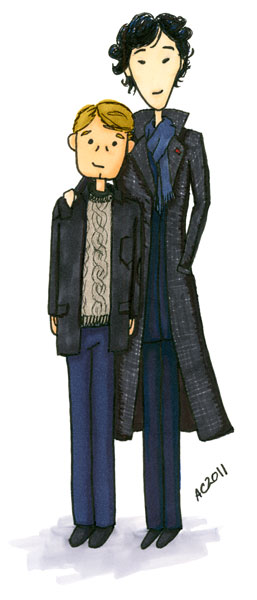 Cartoon Sherlock & John 2 by Amy Crook