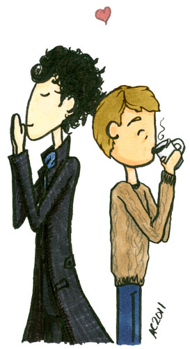 Sherlock and John cartoon by Amy Crook