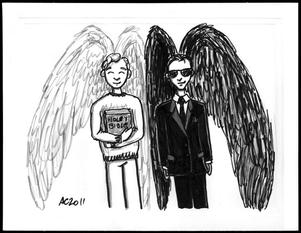 Aziraphale and Crowley sketch by Amy Crook