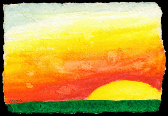 Sunset Postcard watercolor by Amy Crook