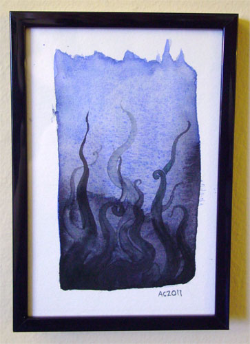 Tentacle Deeps 2, framed art by Amy Crook