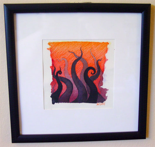 Tentacle Deeps 5, framed art by Amy Crook