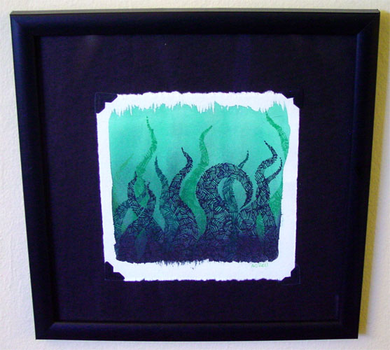 Tentacle Deeps 8, framed art by Amy Crook