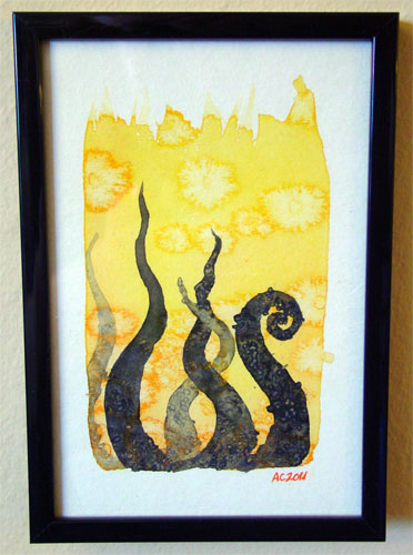 Tentacle Deeps 9, framed art by Amy Crook