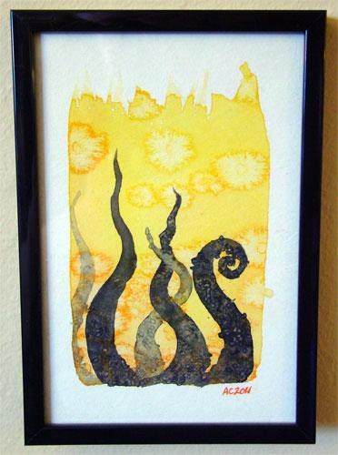 Tentacle Deeps 9, framed art by Amy Crook