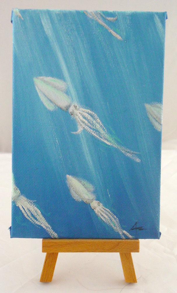 School of Squid, with easel, by Amy Crook