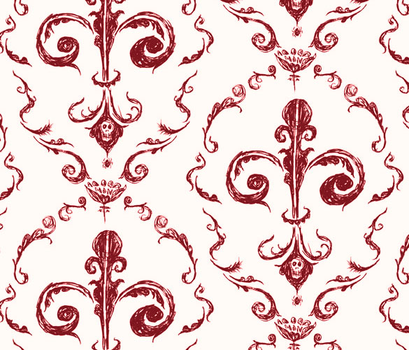 Victorian Wallpaper 1, red on cream, by Amy Crook