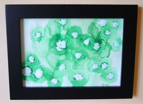 Water Lilies 1, framed watercolor by Amy Crook