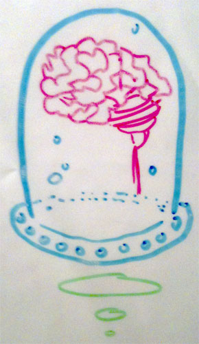 Whiteboard Brain in a Jar by Amy Crook