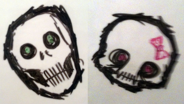 Whiteboard Skulls by Amy Crook