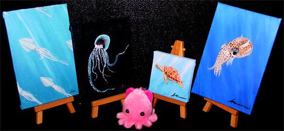 4 tiny underwater scenes by Amy Crook
