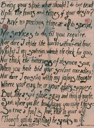 Being Your Slave, art by Amy Crook, poem by Shakespeare