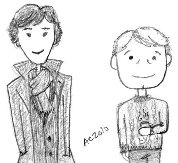 Cartoon Sherlock & John by Amy Crook