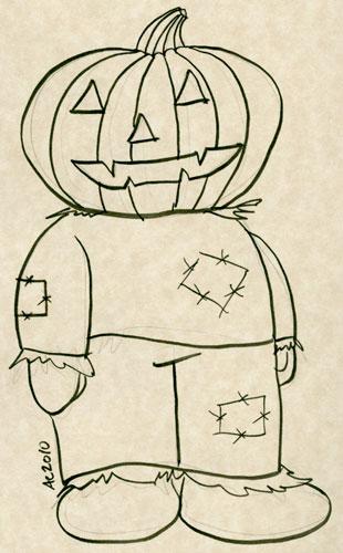 Pumpkinhead Scarecrow sketch by Amy Crook