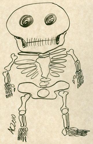 Weeble Skeleton sketch 2 by Amy Crook