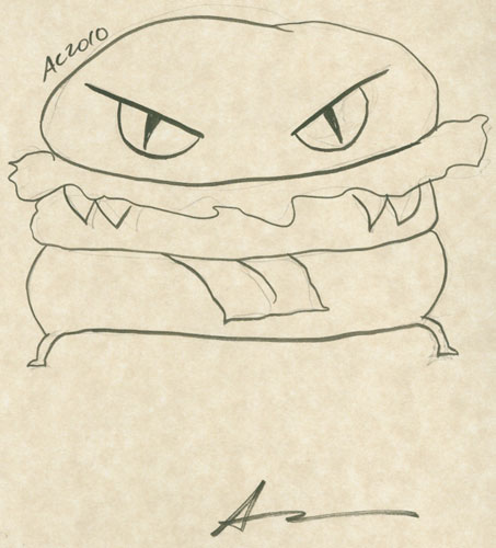 Evil Cheeseburger sketch by Amy Crook