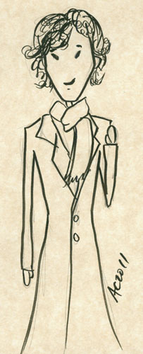 Waving Sherlock doodle by Amy Crook