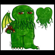 Cthulhu 3 and Cthulhu Heart, 5x7 pen and ink and Copic marker on paper by Amy Crook