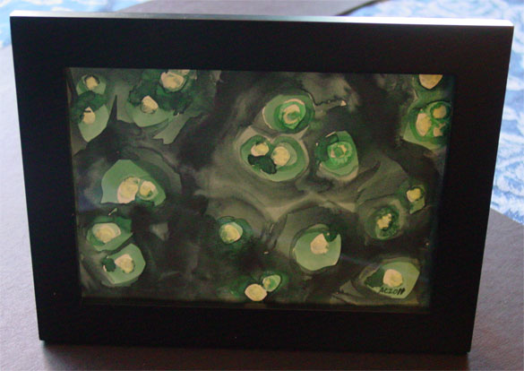 Green Salt Pools, framed watercolor by Amy Crook