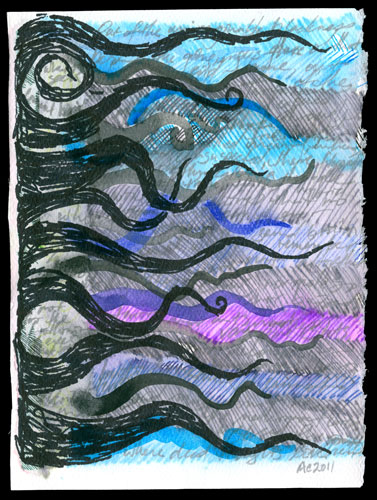 Lovecrafty mixed media art by Amy Crook