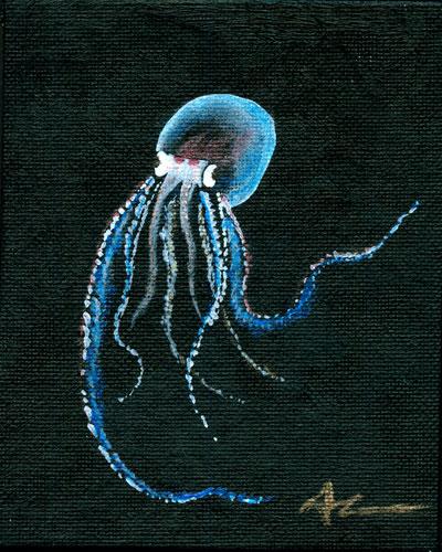Translucent Pelagic Octopus tiny painting by Amy Crook
