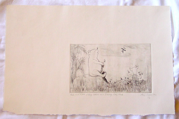 Pooh and Piglet Picking Violets, black and white edition, by Amy Crook