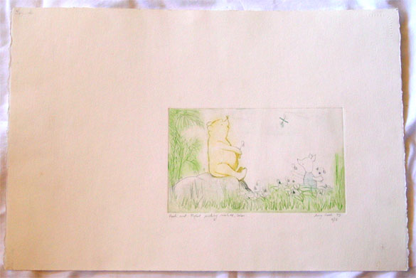 Pooh and Piglet Picking Violets, color edition, by Amy Crook
