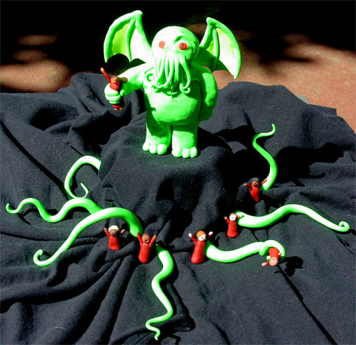 Weeble Cthulhu, Cultists, and Extra Tentacles, sculptures by Amy Crook
