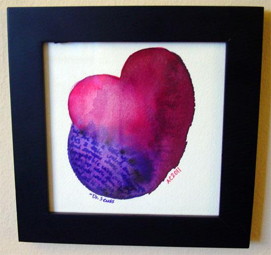Seuss Heart, framed art by Amy Crook