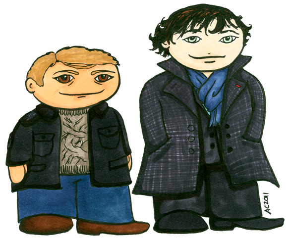 Weeble John and Sherlock by Amy Crook