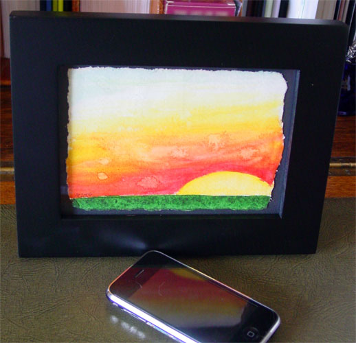 Sunset Postcard, framed watercolor by Amy Crook