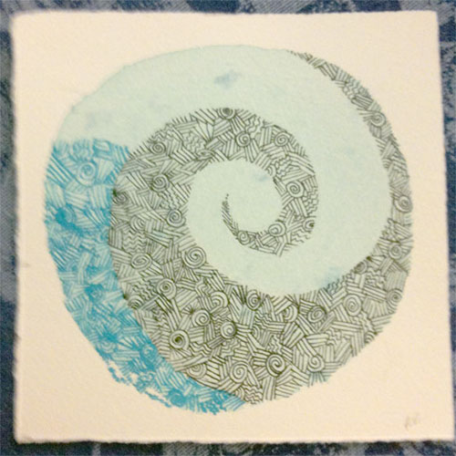 Texture Experiment 1, progress shot 3, by Amy Crook