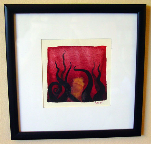 Tentacle Deeps 10, framed art by Amy Crook