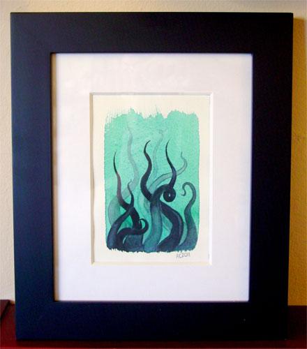 Tentacle Deeps 1, framed art by Amy Crook
