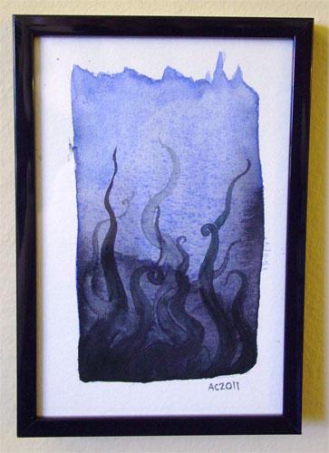 Tentacle Deeps 2, framed art by Amy Crook